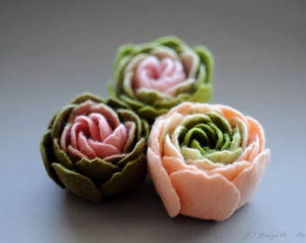 READY TO SHIP, Set of 3 Felt Ranunculus Flower Brooches, Light Pink and Olive Green Ranunculus Felt Flower Brooches, Floral jewelry, Textile