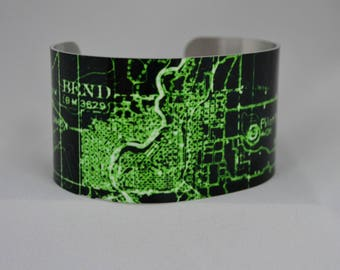 Bend Oregon Map Cuff Bracelet