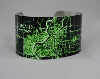 Bend Oregon Map Cuff Bracelet