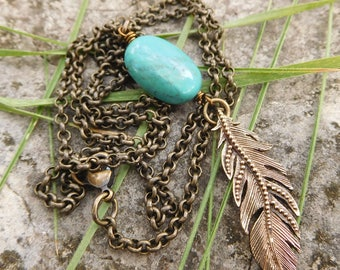 Feather necklace | Turquoise feather necklace | brass feather pendant | Layering pendant | boho pendant |