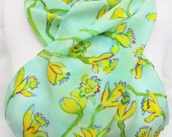 silk scarf long crepe Fresh Daffodils hand painted green yellow blue wearable art women sprint unique fashion