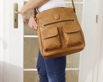 Leather Messenger Bag, Leather Crossbody Bag, Leather Handbag, Leather Messenger, Leather Bag, Brown Leather Bag, Distressed Bag, Iris - tan