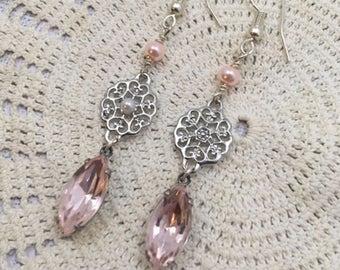 Pink Navette Earrings,  Pink Swarovski  Earrings, Silver Filigree Earrings, Pink Crystal Earrings, Pink Crystal Jewelry, Dangle and Drop