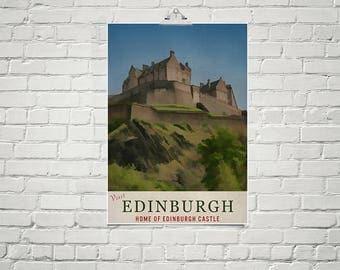 Edinburgh Castle 18x24 Poster Fine Art Print Retro Travel Poster Scottish Art Edinburgh Poster Art Scotland Decor
