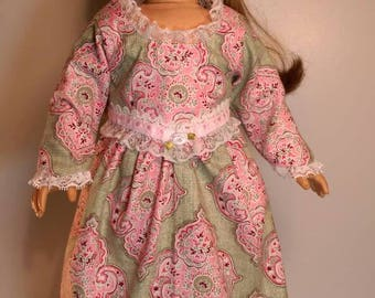 Pink and green medallion print colonial,  dress and bloomers for 18 inch dolls