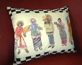 A Unique Gathering - Pillow Hand Painted Original Art 15x18 Women in Costume Reaping Rural Pastoral Serenity Black White Checks Home Decor