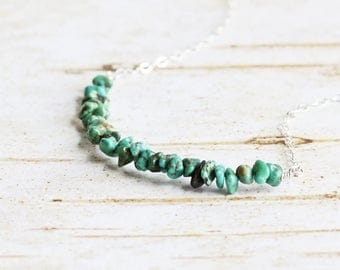 Tiny Turquoise Gemstone Bead Bar Necklace on Sterling Silver Chain