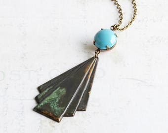 Long Rustic Black Triangle Patina Pendant Necklace with Blue Rhinestone on Antiqued Brass Chain