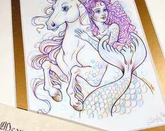The Equestrian - Mermay 2017 Limited Run Double Matted Giclee Print with Story Scroll