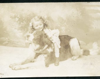 Little Girl with ARMS WRAPPED Around Big Beautiful DOG Photo Postcard 1908