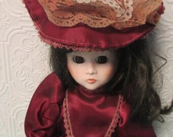 PORCELAIN DOLL VINTAGE - Garnet Dress with Lace Hat Hopechest Heirloom Auburn Hair