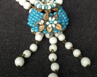 Beautiful flowery glass beads white and blue necklace. Mother's Day precious gift idea.