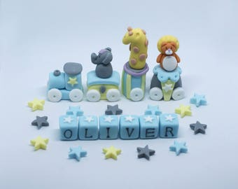 Handmade Edible Sugar Animal Train Christening,Baby Shower or Birthday Cake Topper/Decoration