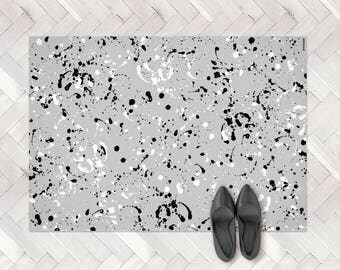 Grey Paint Splash Rug, Paint Spill PVC Rug, Paint Splatter Rug, Kitchen Mat, Monochrome Rug, Kitchen Decor, Paint Rug, Modern Kitchen Rug