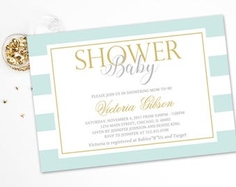 Baby Blue and Gold Stripe Baby Shower Invitation, Gold Glitter, Boy Baby Shower, Personalized, Printable or Printed