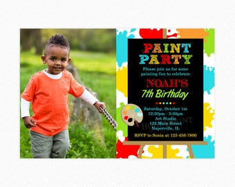Art Birthday Party Invitation, Paint Birthday Party Invitation, Red, Green, Blue, Personalized, Printable and Printed