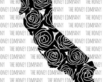 California Floral SVG PNG DXF State Outline Instant Download Silhouette Cricut Cut Files Vector File