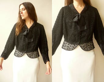 1940's Vintage Black Lace Cropped Evening Jacket With Bow Size M/L