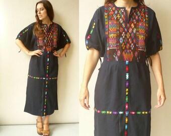 1970's Vintage Guatemalan Woven & Hand Embroidered Indigo Folk Smock Maxi Dress