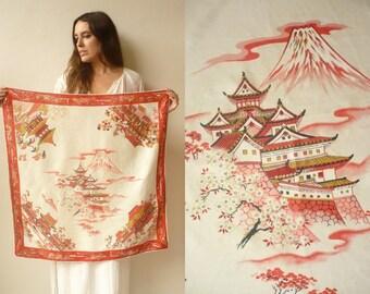 1970's Vintage Japanese Novelty Landmark Printed Mt Fuji Kyoto Temples Souvenir Silk Square Scarf