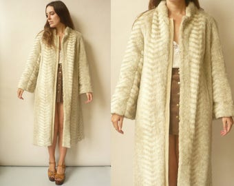1970's Vintage 3/4 Length Faux Fur Princess Swing Coat Size Medium