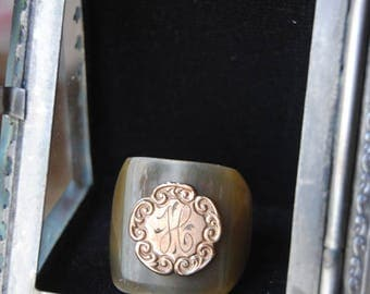 HATTIE--Antique Victorian Monogram H Chased Medallion Signet Horn RING