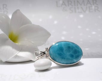 AAA Larimar pendant by Larimarandsilver, Mirror of the Abyss- deep sea blue Larimar oval, blue ocean pendant, turtleback, Dominican Larimar