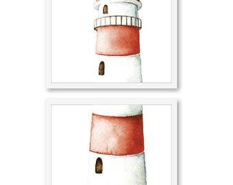 Lighthouse print, Nautical Wall Art, Nautical Decor, coastal print, coastal wall art, beach house decor, frames not included