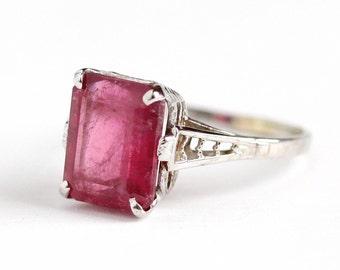 Vintage 14k White Gold Genuine 3.6 CT Pink Tourmaline Ring - Antique Belais Size 5 1/2 Art Deco 1920s Pink Gemstone Fine Filigree Jewelry
