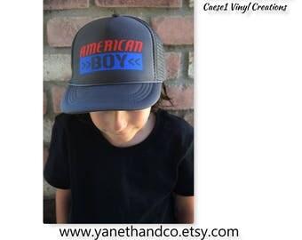 American Boy Trucker Hat,Patriotic Kids American Boy Trucker Hat,American boy Hat,Kids Trucker hat,Kids Custom trucker hat,American Hat