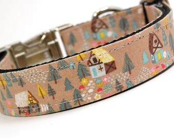 Handmade Dog Collar - Forest Cabin in Tan - Forest dog collar with cute cottage - Rustic Cottage Dog Collar
