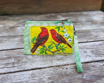 Wristlet Zipper Pouch, Small Purse, Vintage Linen 1974 Bird Calender Upcycle, Scarlet Tanager, Embroidered, Vintage Lace, Calico Lined