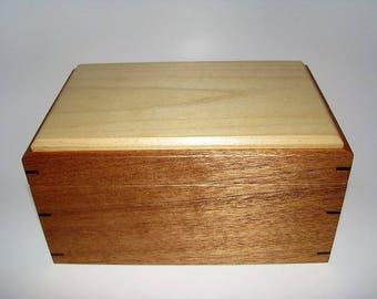 "Memory Box. Exotic Mahogany and Poplar Keepsake Box. 8.75"" x 5.75"" x 4.5"". Handcrafted Wooden Memory Box."