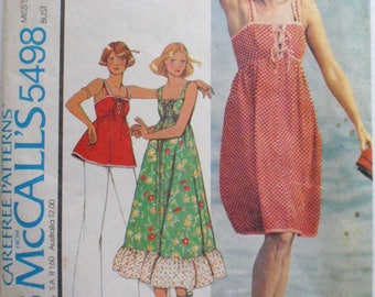 High Waisted Summer Dress or Top With Lace Up or Tie Front - McCall's 5498 1970's Sewing Pattern - Size 10, Bust 32 1/2