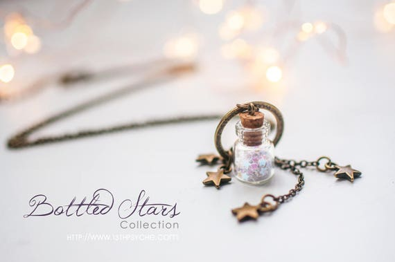 glitter Stars Tiny Bottle necklace. Glass bottle pendant. Cute Necklace, personalized necklace, miniature bottle charm, gift for women