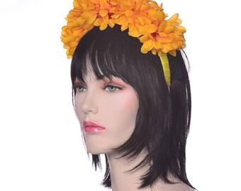 Large Gold Marigold Flower Headband Dia de la Muerte Day of the Dead Headband Catrina