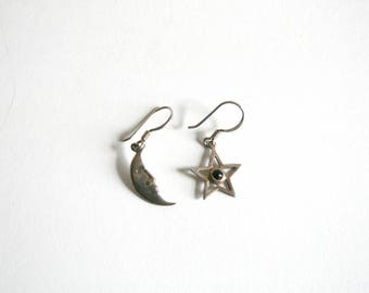 Moon Star Sterling Earrings