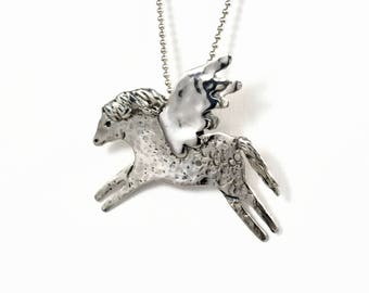 Sterling Pegasus Jewelry Gift For Her, Unusual Jewelry Gift For Women, Silver Fantasy Jewelry, Robin Wade, Magical Jewelry Pendant,  2593