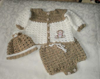 Boys Crocheted Teddy Bear 3 Piece Sweater Set for 3 to 6 Months