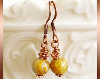 Hook Earrings 8mm Gold and White Round Jasper Gemstones Fancy Copper Daisy Spacers and TierraCast Copper Spacers You Choose Ear Wires Metal