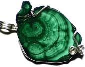 Malachite Necklace, Silver Malachite Slice Jewelry, Congo Malachite Stalactite Jewelry, Raw Malachite Jewelry, Green Gemstone Necklace Men