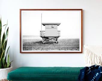 Photography, Framed Beach Art, Black And White Framed Art, Beach Decor, Large Wall Art, Lifeguard Tower, Beach Wall Art, Gray White