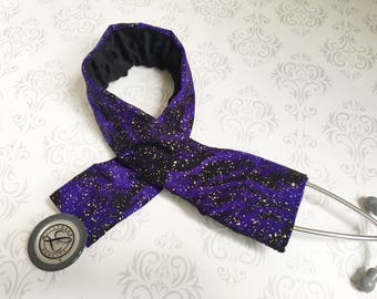 Padded Stethoscope Cover, Gift for a Nurse, RN, Doctor, Med Student, Nursing Student, Medical Assistant, EMT - Purple Galaxy with Black