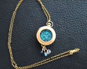 Vintage Time Piece Necklace with The Glitter of Dichroic Glass