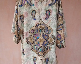 Pure silk kaftan. Embroidered kaftan, silk cardigan, silk robe, bohemian kaftan, tribal kaftan