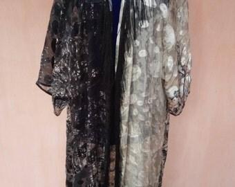 Pure silk robe with fringes. Silk kimono, silk cardigan, silk kaftan, bohemian kaftan, tribal robe