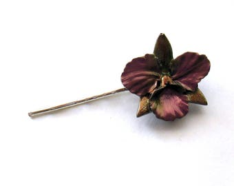 FIRE POLISHED resin cattleya orchid hairclip