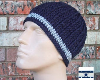 Beanie in Team Colors - Dallas Cowboys Colors - Navy Blue & Silver Gray - Unisex / Mens Size M/L - Soft Acrylic Yarn - Warm - Great Gift