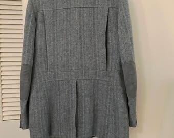 Pendleton 70's Retro 30's Belt Back Jacket Blue Herringbone Wool 46 Long Sort Coat Mens