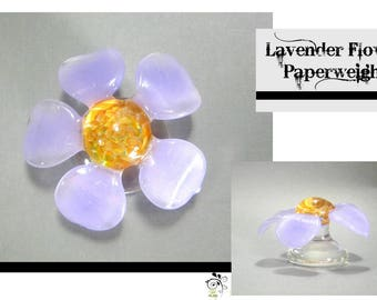 Lavender Flower Paperweight - Boro Lampwork Glass Sculpture